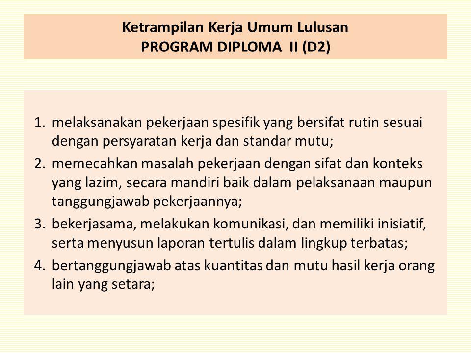 Ketrampilan Kerja Umum Lulusan PROGRAM DIPLOMA II (D2) 1.melaksanakan pekerjaan spesifik yang bersifat rutin sesuai dengan persyaratan kerja dan stand
