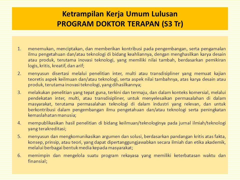 Ketrampilan Kerja Umum Lulusan PROGRAM DOKTOR TERAPAN (S3 Tr) 1.menemukan, menciptakan, dan memberikan kontribusi pada pengembangan, serta pengamalan