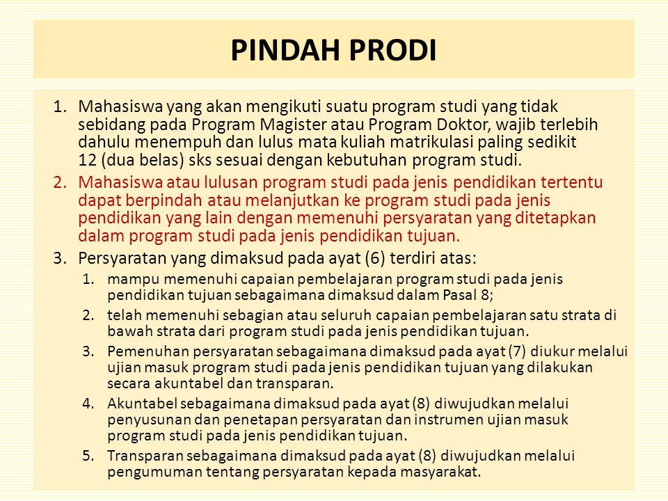 PINDAH PRODI 1.Mahasiswa yang akan mengikuti suatu program studi yang tidak sebidang pada Program Magister atau Program Doktor, wajib terlebih dahulu menempuh dan lulus mata kuliah matrikulasi paling sedikit 12 (dua belas) sks sesuai dengan kebutuhan program studi.