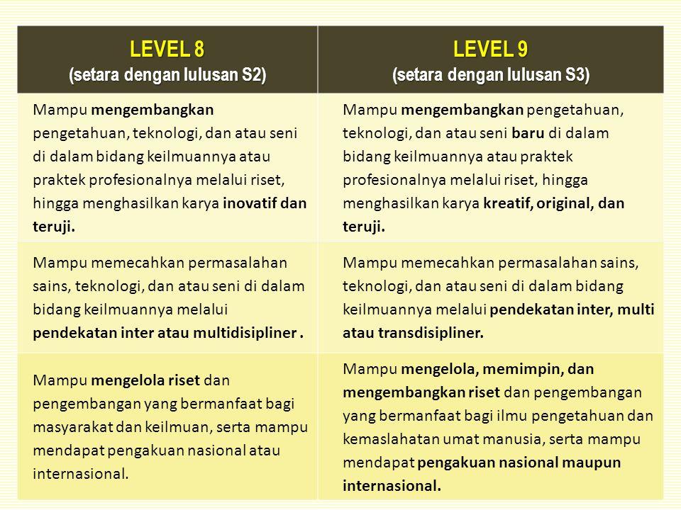 LEVEL 8 (setara dengan lulusan S2) LEVEL 9 (setara dengan lulusan S3) Mampu mengembangkan pengetahuan, teknologi, dan atau seni di dalam bidang keilmuannya atau praktek profesionalnya melalui riset, hingga menghasilkan karya inovatif dan teruji.