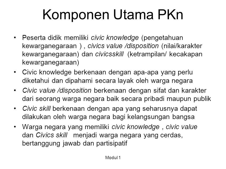 Komponen Utama PKn Peserta didik memiliki civic knowledge (pengetahuan kewarganegaraan ), civics value /disposition (nilai/karakter kewarganegaraan) d