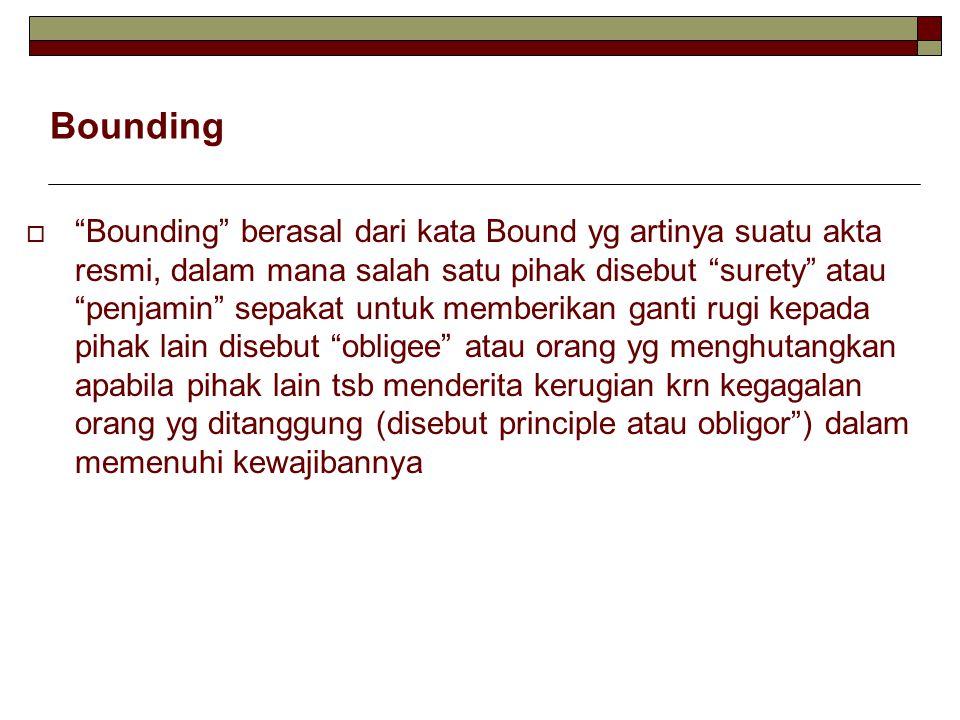 Bounding  Bounding berasal dari kata Bound yg artinya suatu akta resmi, dalam mana salah satu pihak disebut surety atau penjamin sepakat untuk memberikan ganti rugi kepada pihak lain disebut obligee atau orang yg menghutangkan apabila pihak lain tsb menderita kerugian krn kegagalan orang yg ditanggung (disebut principle atau obligor ) dalam memenuhi kewajibannya