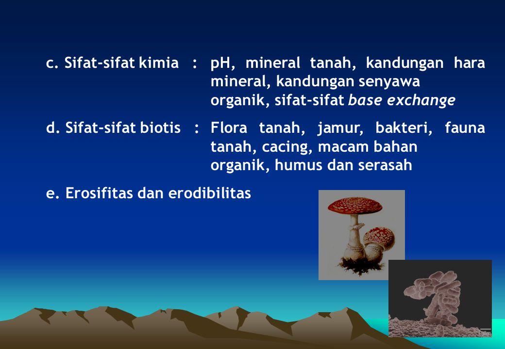 c. Sifat-sifat kimia :pH, mineral tanah, kandungan hara mineral, kandungan senyawa organik, sifat-sifat base exchange d. Sifat-sifat biotis :Flora tan
