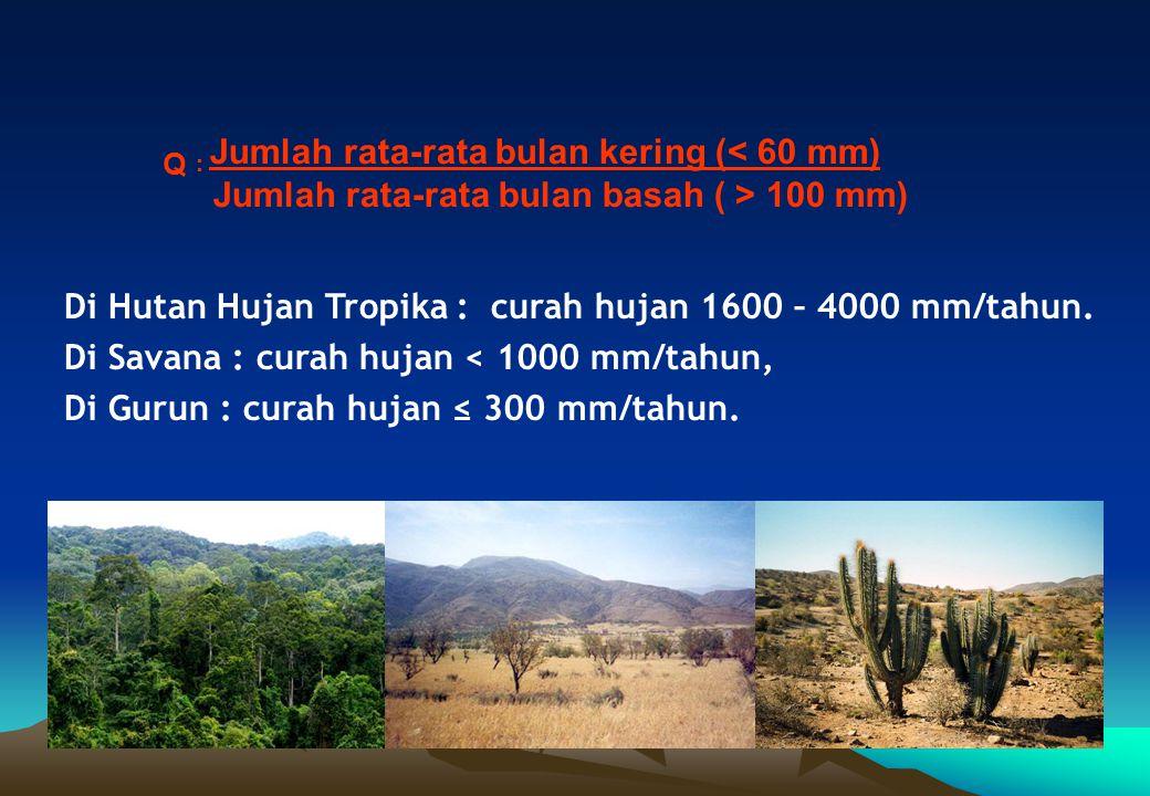 Di Hutan Hujan Tropika : curah hujan 1600 – 4000 mm/tahun. Di Savana : curah hujan < 1000 mm/tahun, Di Gurun : curah hujan ≤ 300 mm/tahun. Q : Jumlah