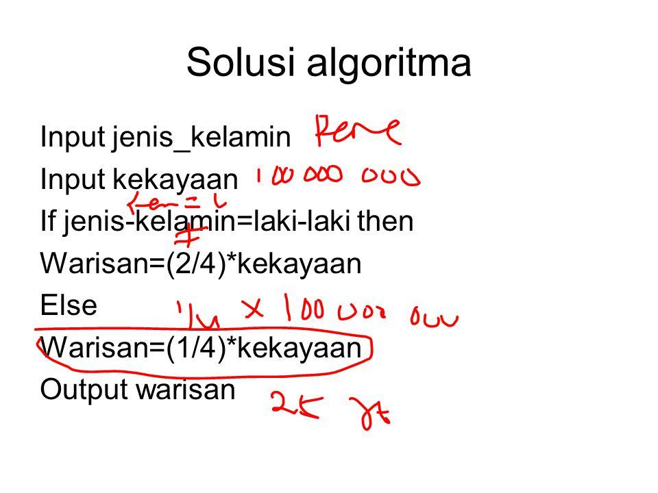Solusi algoritma Input jenis_kelamin Input kekayaan If jenis-kelamin=laki-laki then Warisan=(2/4)*kekayaan Else Warisan=(1/4)*kekayaan Output warisan