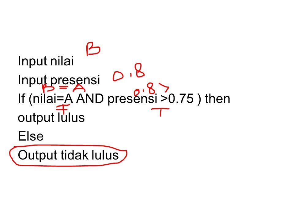 Input nilai Input presensi If (nilai=A AND presensi >0.75 ) then output lulus Else Output tidak lulus