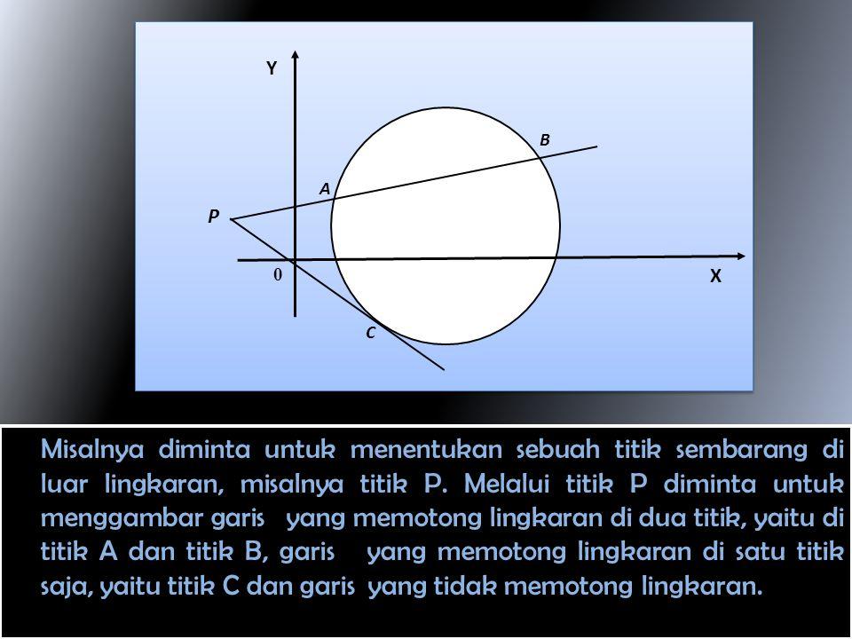 Misalnya diminta untuk menentukan sebuah titik sembarang di luar lingkaran, misalnya titik P.