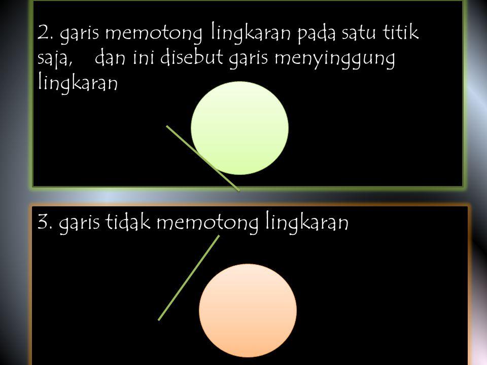 jadi posisi garis terhadap lingkaran ada 3 macam, yaitu 1. garis memotong lingkaran pada dua titik berbeda. jadi posisi garis terhadap lingkaran ada 3