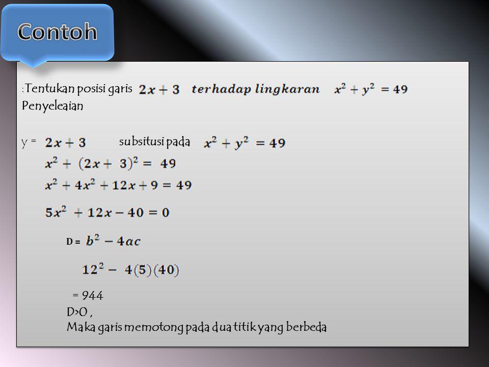 :Tentukan posisi garis Penyeleaian y = subsitusi pada :Tentukan posisi garis Penyeleaian y = subsitusi pada D = = 944 D>0, Maka garis memotong pada dua titik yang berbeda
