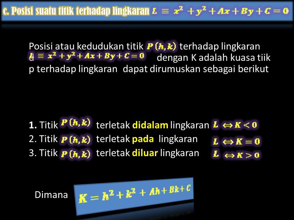 Posisi atau kedudukan titik terhadap lingkaran d dengan K adalah kuasa tiik p terhadap lingkaran dapat dirumuskan sebagai berikut 1.