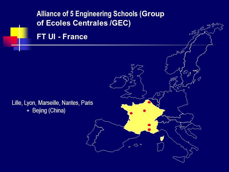 Lille, Lyon, Marseille, Nantes, Paris + Bejing (China) Alliance of 5 Engineering Schools ( Group of Ecoles Centrales /GEC) FT UI - France