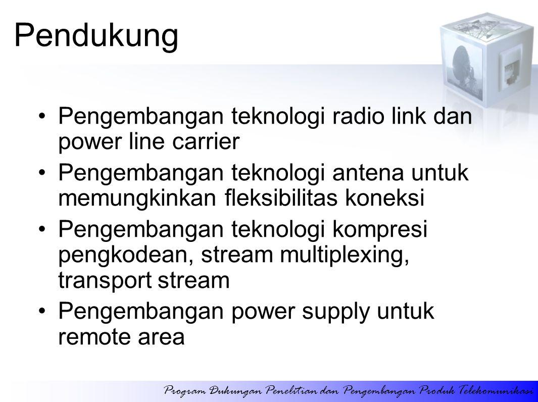 Pendukung Pengembangan teknologi radio link dan power line carrier Pengembangan teknologi antena untuk memungkinkan fleksibilitas koneksi Pengembangan teknologi kompresi pengkodean, stream multiplexing, transport stream Pengembangan power supply untuk remote area Program Dukungan Penelitian dan Pengembangan Produk Telekomunikasi