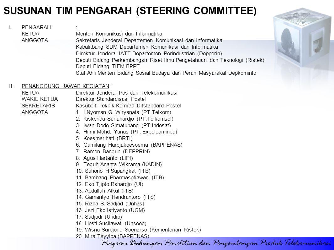 SUSUNAN TIM PENGARAH (STEERING COMMITTEE) I.PENGARAH: KETUAMenteri Komunikasi dan Informatika ANGGOTASekretaris Jenderal Departemen Komunikasi dan Inf
