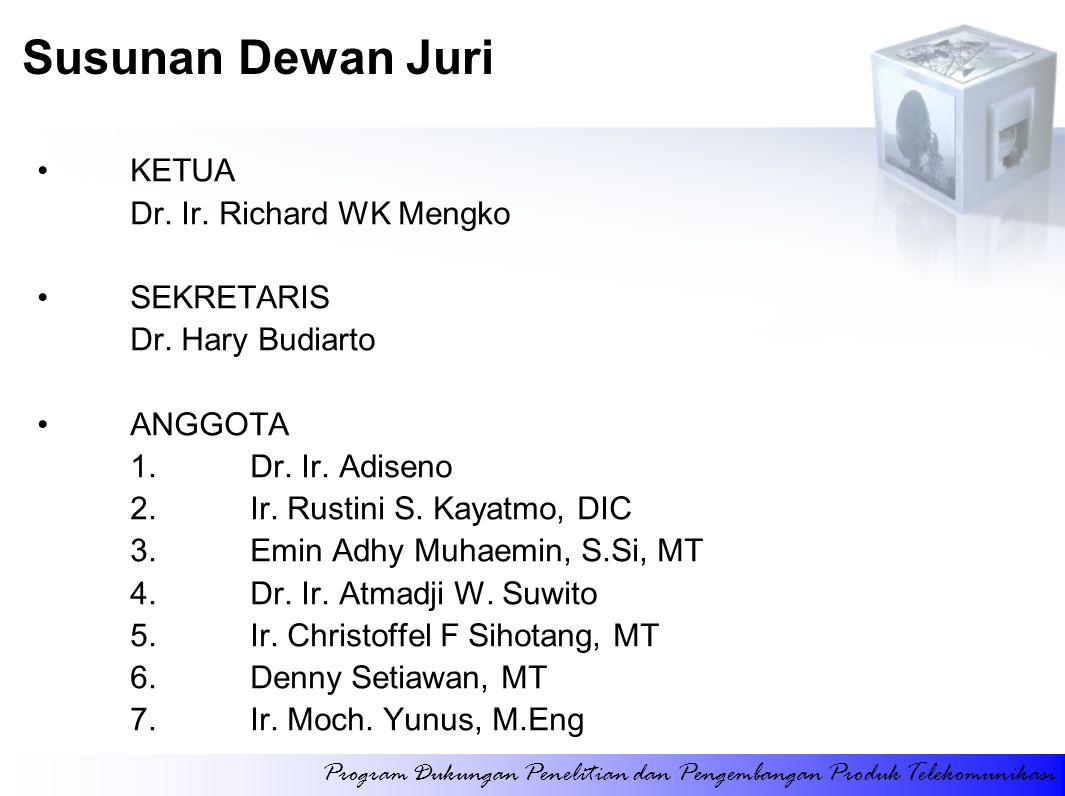 KETUA Dr. Ir. Richard WK Mengko SEKRETARIS Dr. Hary Budiarto ANGGOTA 1.Dr. Ir. Adiseno 2.Ir. Rustini S. Kayatmo, DIC 3.Emin Adhy Muhaemin, S.Si, MT 4.