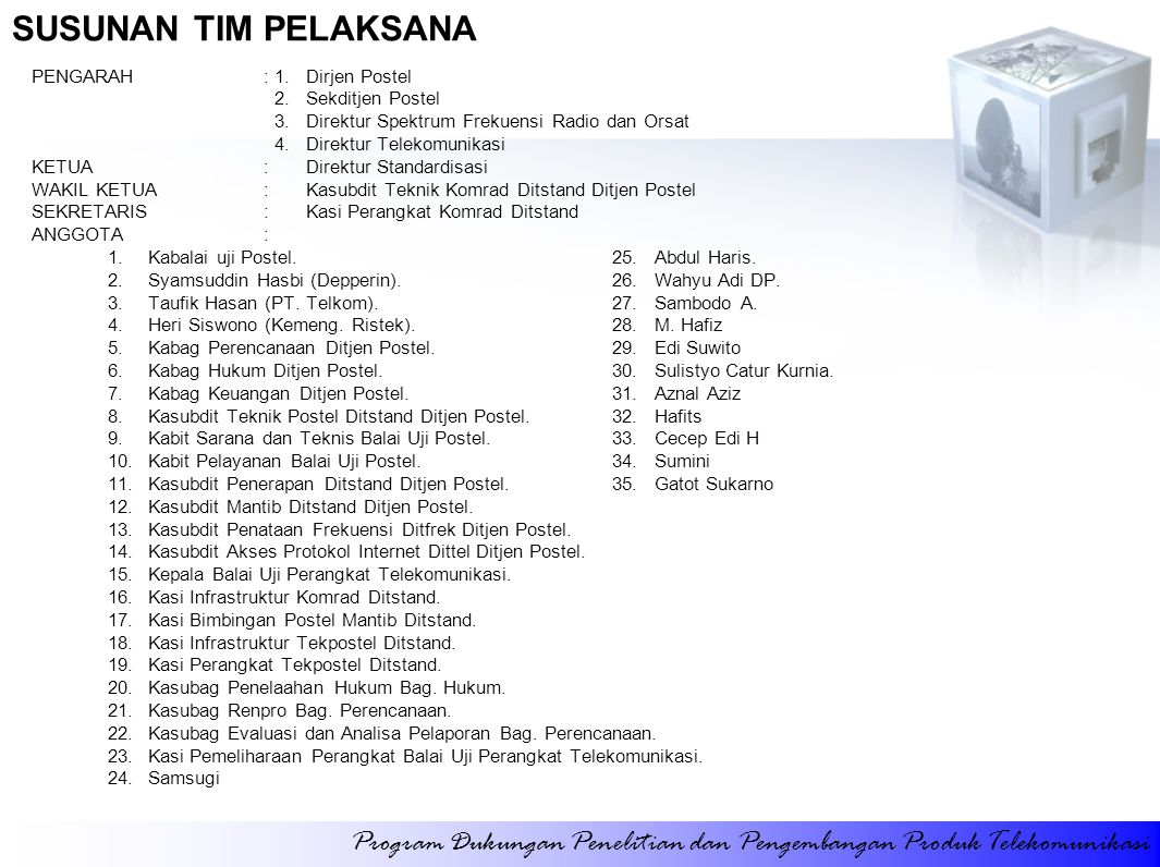 PERJALANAN DINAS DALAM NEGERI (KOMERSIALISASI PRODUK) Program Dukungan Penelitian dan Pengembangan Produk Telekomunikasi Perjalanan selama 5 hari ke kota: Denpasar Medan Makassar Padang Batam Semarang Surabaya Bandung