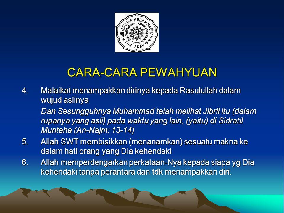 CARA-CARA PEWAHYUAN 1.Malaikat menampakkan diri sbg laki-laki dan mengucapkan lafadz Al-Qur'an 2.Malaikat memasukkan wahyu ke dalam hati Rasulullah.