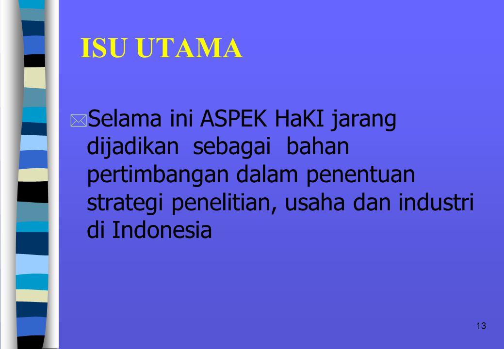 13 ISU UTAMA * Selama ini ASPEK HaKI jarang dijadikan sebagai bahan pertimbangan dalam penentuan strategi penelitian, usaha dan industri di Indonesia