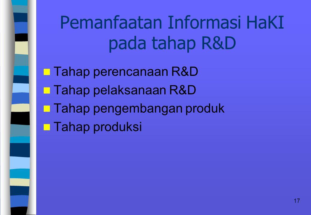 17 Pemanfaatan Informasi HaKI pada tahap R&D n Tahap perencanaan R&D n Tahap pelaksanaan R&D n Tahap pengembangan produk n Tahap produksi