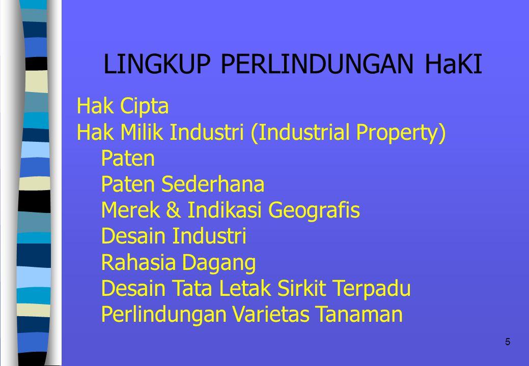 5 LINGKUP PERLINDUNGAN HaKI Hak Cipta Hak Milik Industri (Industrial Property) Paten Paten Sederhana Merek & Indikasi Geografis Desain Industri Rahasia Dagang Desain Tata Letak Sirkit Terpadu Perlindungan Varietas Tanaman