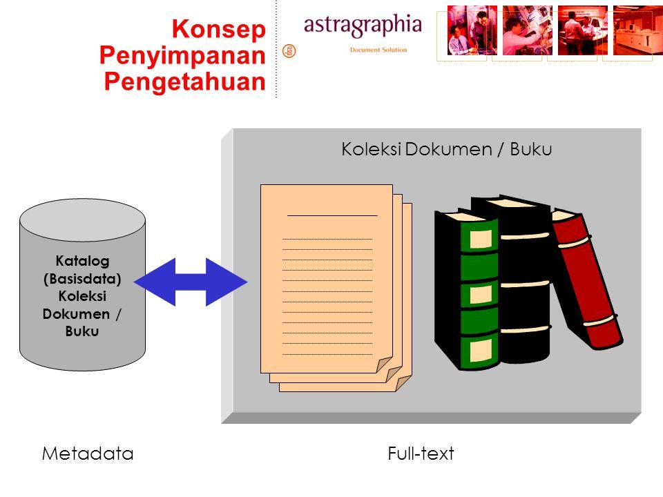 Konsep Penyimpanan Pengetahuan Katalog (Basisdata) Koleksi Dokumen / Buku MetadataFull-text Koleksi Dokumen / Buku