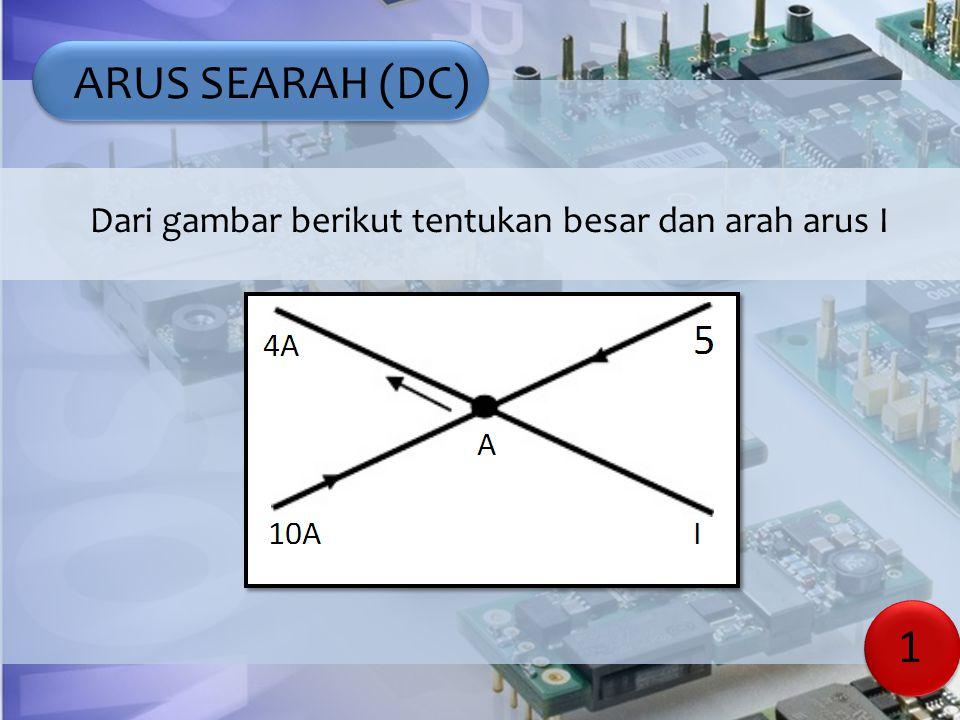 ARUS SEARAH (DC) Kuat arus I1= 10 A, I2= 5 A arah menuju titik A.