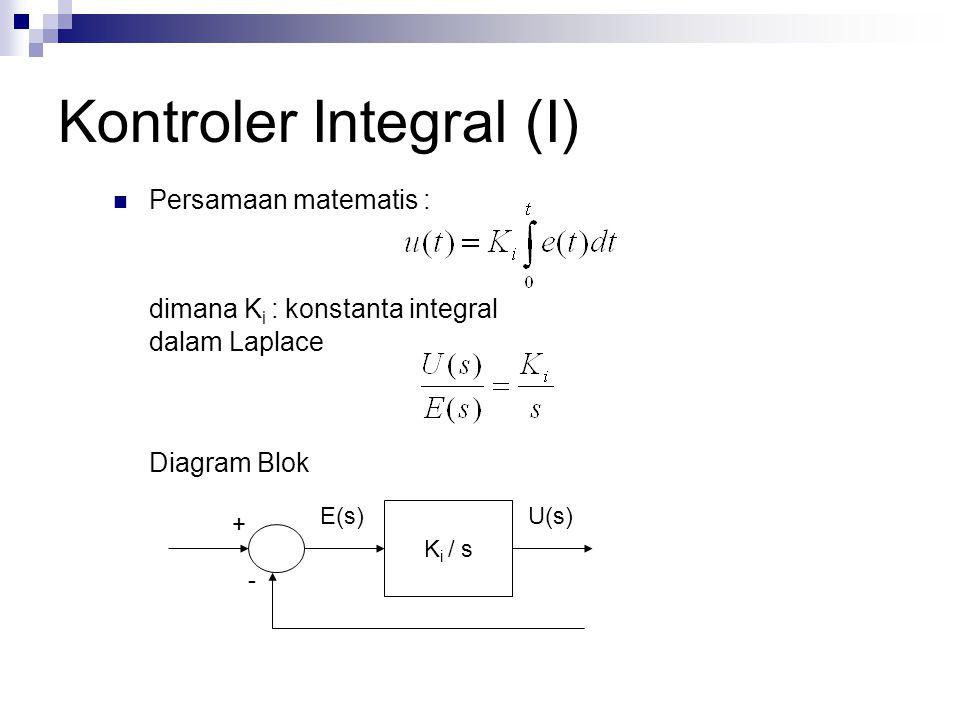 Kontroler Integral (I) Persamaan matematis : dimana K i : konstanta integral dalam Laplace Diagram Blok K i / s U(s)E(s) + -