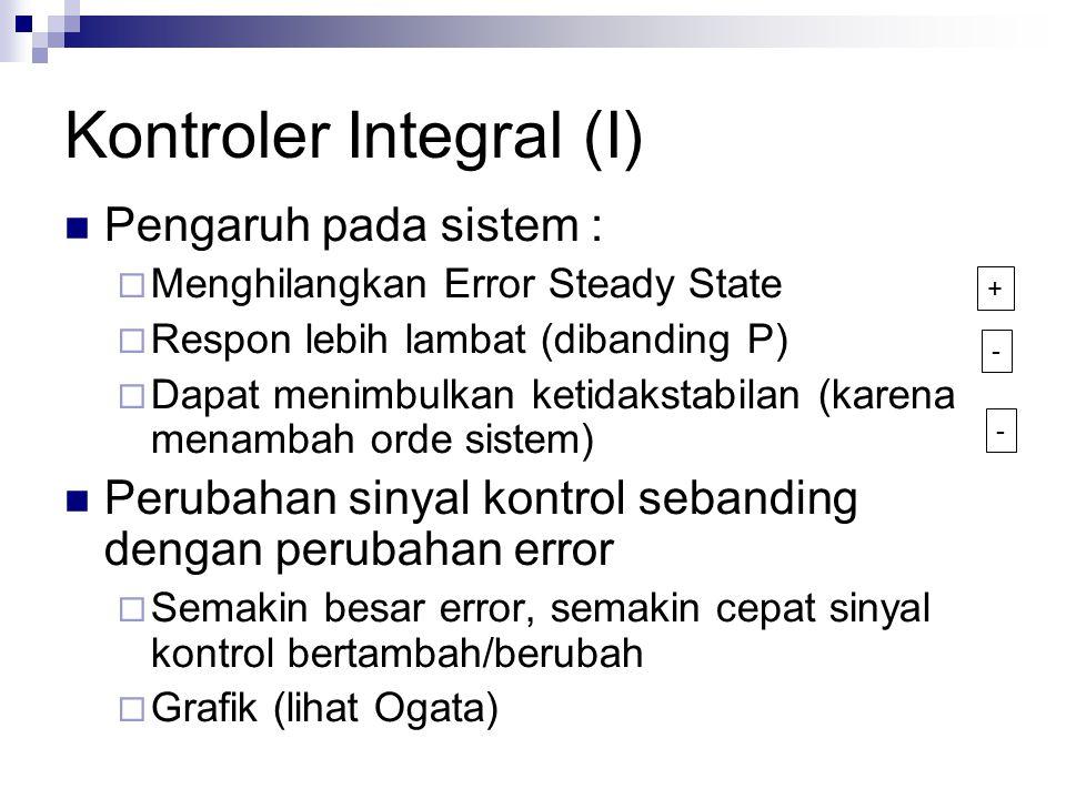 Kontroler Integral (I) Pengaruh pada sistem :  Menghilangkan Error Steady State  Respon lebih lambat (dibanding P)  Dapat menimbulkan ketidakstabil