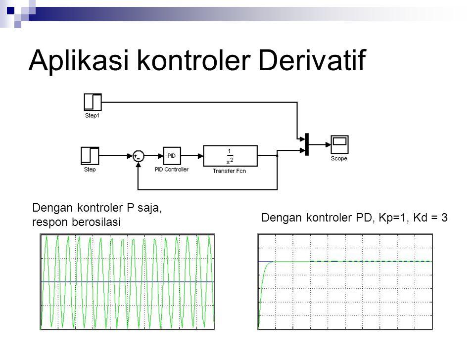 Aplikasi kontroler Derivatif Dengan kontroler P saja, respon berosilasi Dengan kontroler PD, Kp=1, Kd = 3
