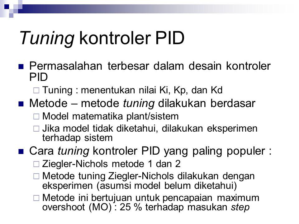 Tuning kontroler PID Permasalahan terbesar dalam desain kontroler PID  Tuning : menentukan nilai Ki, Kp, dan Kd Metode – metode tuning dilakukan berd