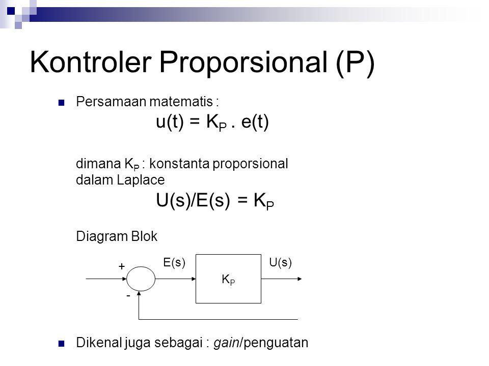 Kontroler Proporsional (P) Pengaruh pada sistem :  Menambah atau mengurangi kestabilan  Dapat memperbaiki respon transien khususnya : rise time, settling time  Mengurangi (bukan menghilangkan) Error steady state Catatan : untuk menghilangkan E ss, dibutuhkan K P besar, yang akan membuat sistem lebih tidak stabil Kontroler Proporsional memberi pengaruh langsung (sebanding) pada error  Semakin besar error, semakin besar sinyal kendali yang dihasilkan kontroler  Grafik (di Ogata) + + - +