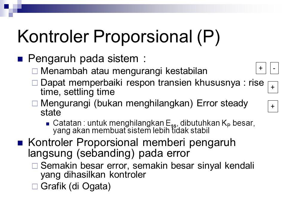 Kontroler Proporsional (P) Pengaruh pada sistem :  Menambah atau mengurangi kestabilan  Dapat memperbaiki respon transien khususnya : rise time, set