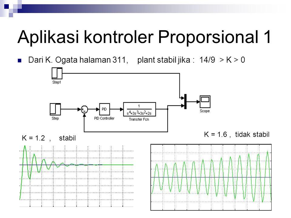 Aplikasi kontroler Proporsional 1 Dari K. Ogata halaman 311, plant stabil jika : 14/9 > K > 0 K = 1.2, stabil K = 1.6, tidak stabil