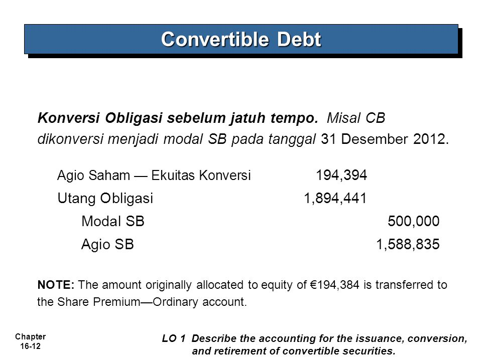 Chapter 16-12 Convertible Debt LO 1 Describe the accounting for the issuance, conversion, and retirement of convertible securities. Konversi Obligasi