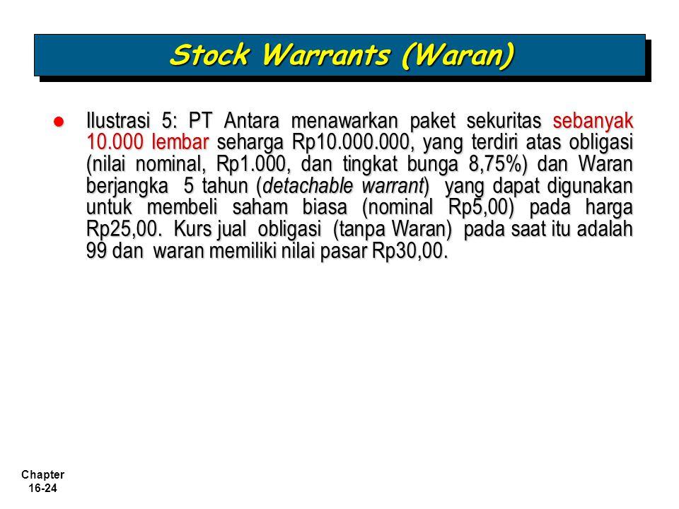 Chapter 16-24 Ilustrasi 5: PT Antara menawarkan paket sekuritas sebanyak 10.000 lembar seharga Rp10.000.000, yang terdiri atas obligasi (nilai nominal