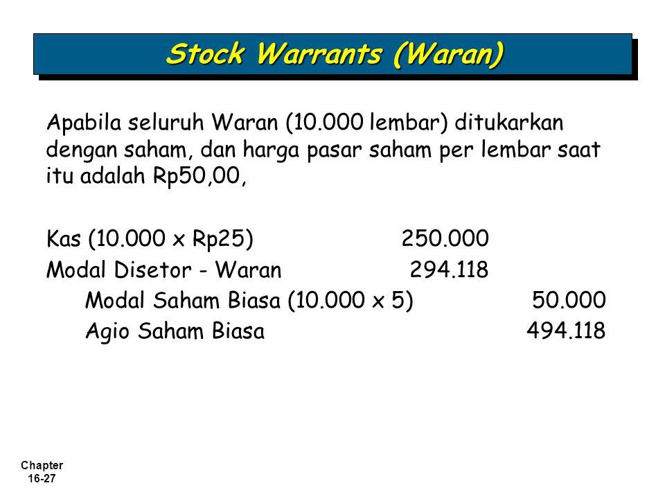Chapter 16-27 Stock Warrants (Waran) Apabila seluruh Waran (10.000 lembar) ditukarkan dengan saham, dan harga pasar saham per lembar saat itu adalah R