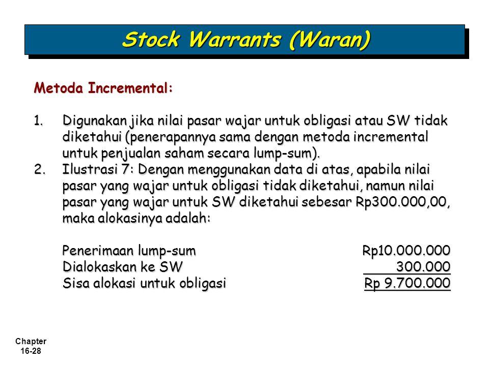 Chapter 16-28 Stock Warrants (Waran) Metoda Incremental: 1.Digunakan jika nilai pasar wajar untuk obligasi atau SW tidak diketahui (penerapannya sama