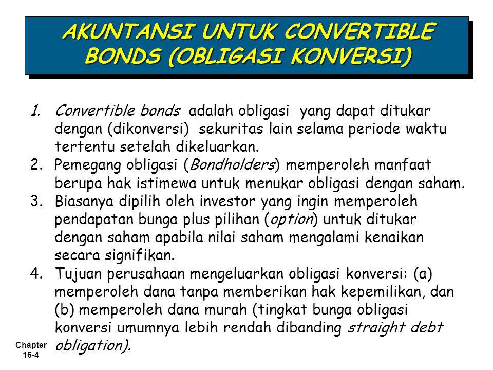 Chapter 16-4 1.Convertible bonds adalah obligasi yang dapat ditukar dengan (dikonversi) sekuritas lain selama periode waktu tertentu setelah dikeluark