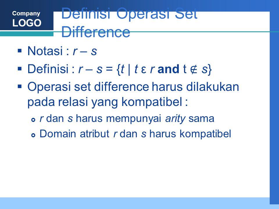 Company LOGO Definisi Operasi Set Difference  Notasi : r – s  Definisi : r – s = {t | t ε r and t ∉ s}  Operasi set difference harus dilakukan pada relasi yang kompatibel :  r dan s harus mempunyai arity sama  Domain atribut r dan s harus kompatibel