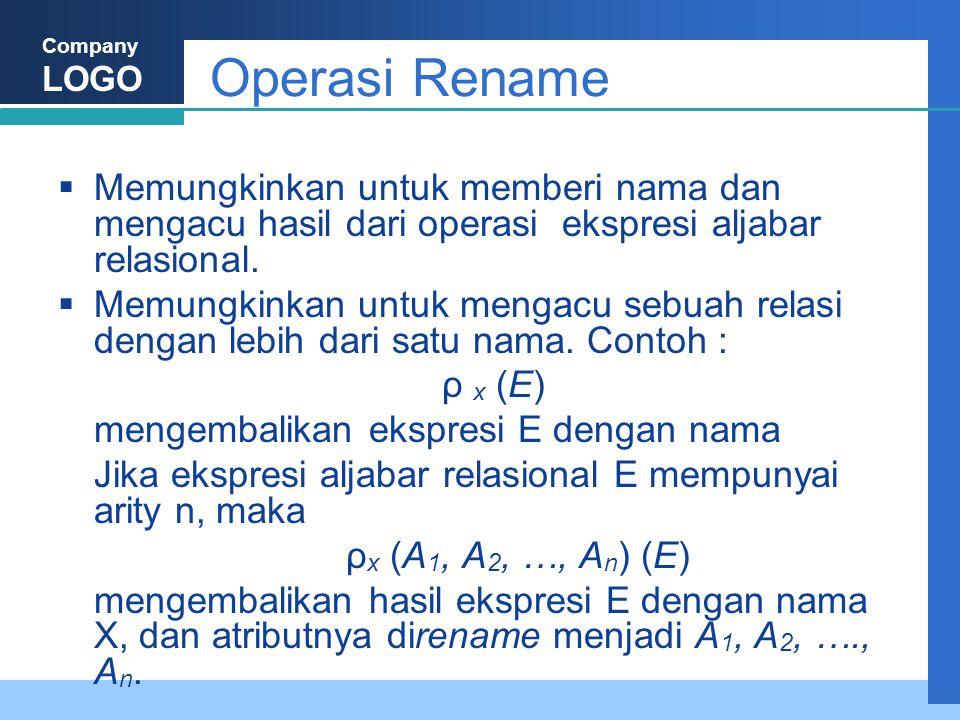 Company LOGO Operasi Rename  Memungkinkan untuk memberi nama dan mengacu hasil dari operasi ekspresi aljabar relasional.  Memungkinkan untuk mengacu