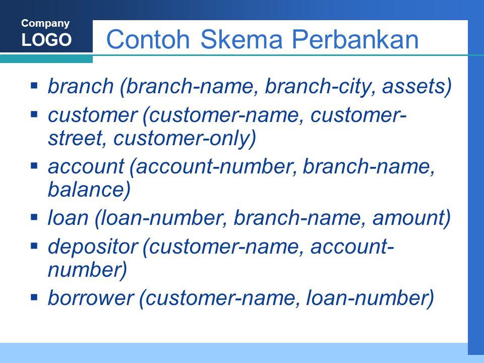 Company LOGO Contoh Skema Perbankan  branch (branch-name, branch-city, assets)  customer (customer-name, customer- street, customer-only)  account (account-number, branch-name, balance)  loan (loan-number, branch-name, amount)  depositor (customer-name, account- number)  borrower (customer-name, loan-number)