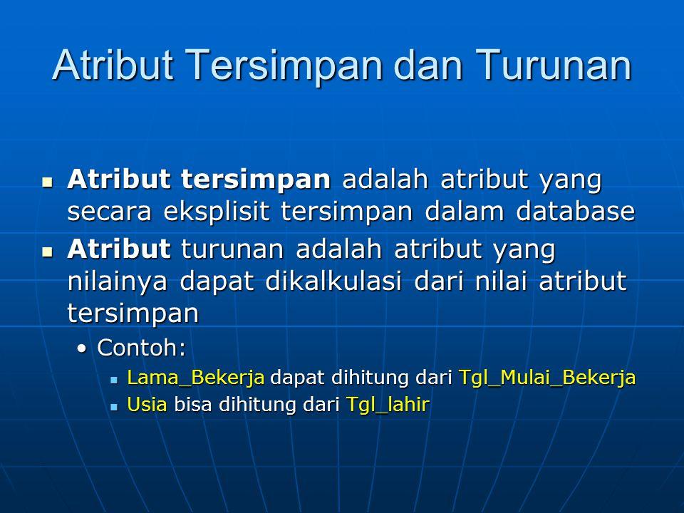 Atribut Tersimpan dan Turunan Atribut tersimpan adalah atribut yang secara eksplisit tersimpan dalam database Atribut tersimpan adalah atribut yang se