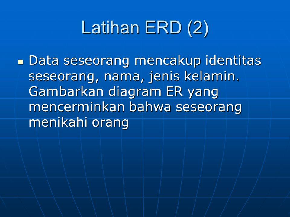 Latihan ERD (2) Data seseorang mencakup identitas seseorang, nama, jenis kelamin. Gambarkan diagram ER yang mencerminkan bahwa seseorang menikahi oran