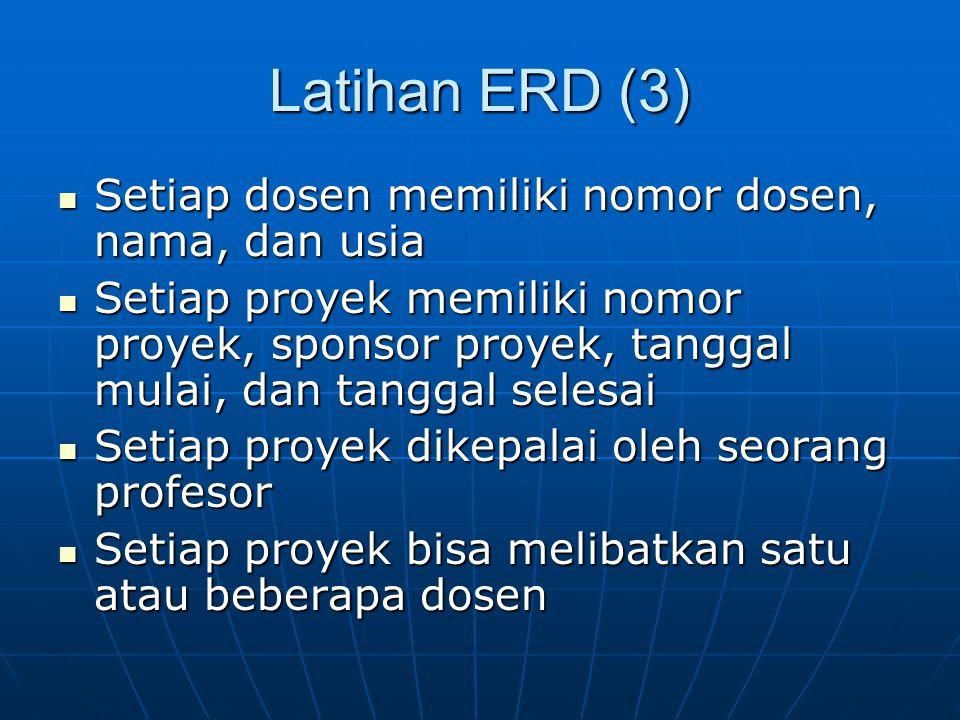 Latihan ERD (3) Setiap dosen memiliki nomor dosen, nama, dan usia Setiap dosen memiliki nomor dosen, nama, dan usia Setiap proyek memiliki nomor proye