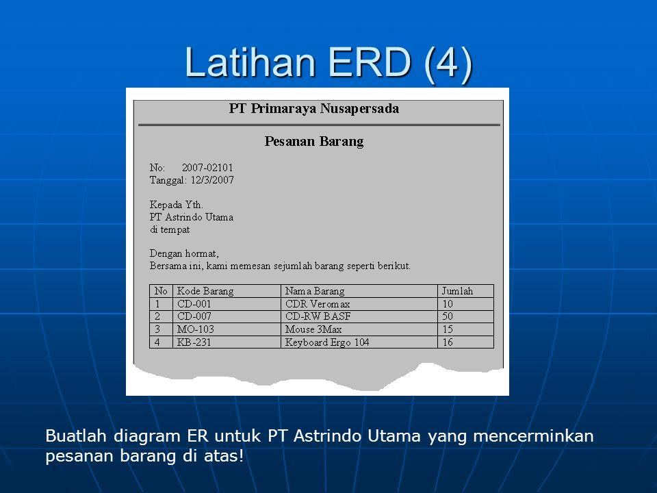 Latihan ERD (4) Buatlah diagram ER untuk PT Astrindo Utama yang mencerminkan pesanan barang di atas!