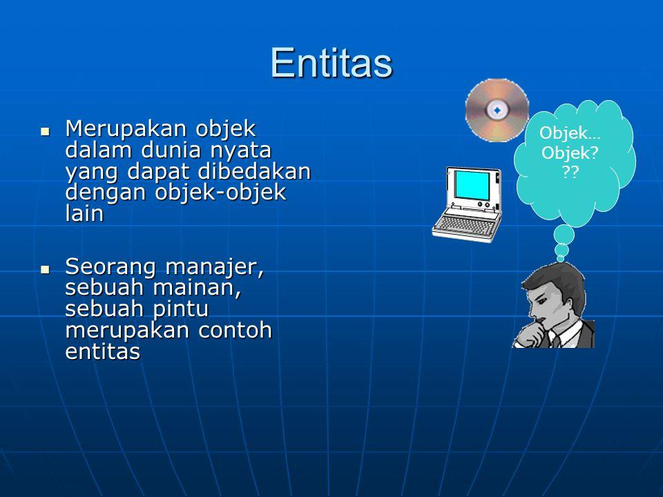 Atribut Sifat / karakteristik yang melekat dalam sebuah entitas Sifat / karakteristik yang melekat dalam sebuah entitas No inventaris Merk Ukuran RAM … Atribut Entitas