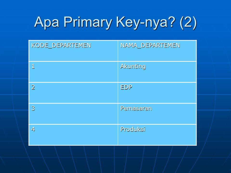 Apa Primary Key-nya? (2) KODE_DEPARTEMENNAMA_DEPARTEMEN 1Akunting 2EDP 3Pemasaran 4Produksi