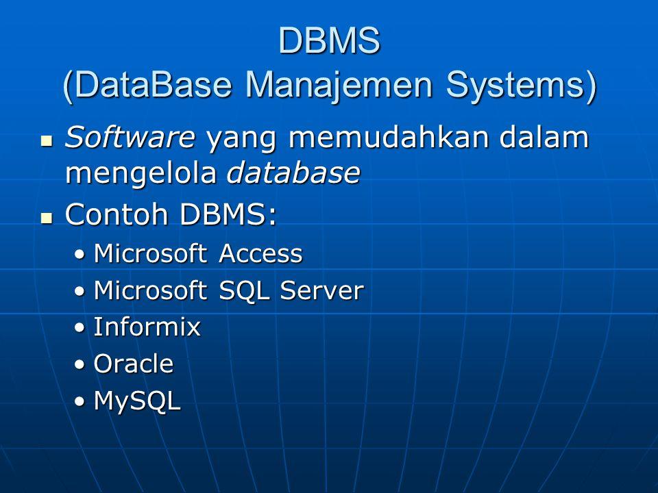DBMS (DataBase Manajemen Systems) Software yang memudahkan dalam mengelola database Software yang memudahkan dalam mengelola database Contoh DBMS: Con