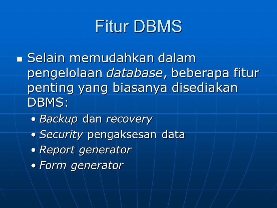 Fitur DBMS Selain memudahkan dalam pengelolaan database, beberapa fitur penting yang biasanya disediakan DBMS: Selain memudahkan dalam pengelolaan dat