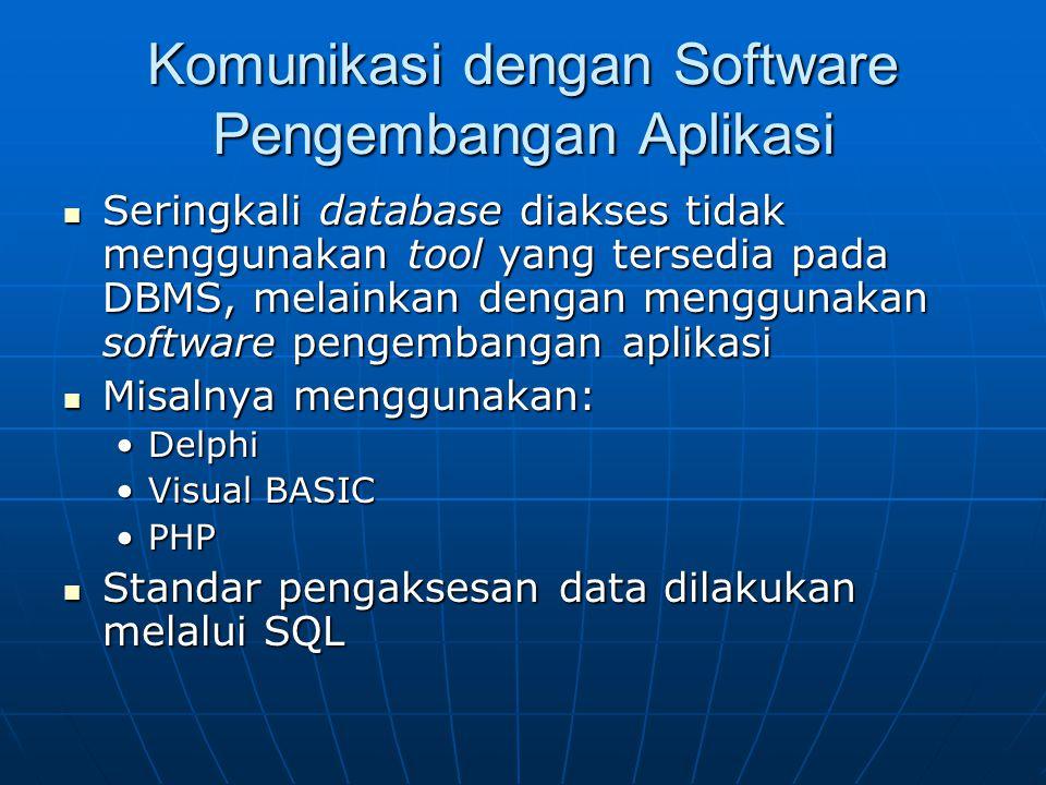 Komunikasi dengan Software Pengembangan Aplikasi Seringkali database diakses tidak menggunakan tool yang tersedia pada DBMS, melainkan dengan mengguna