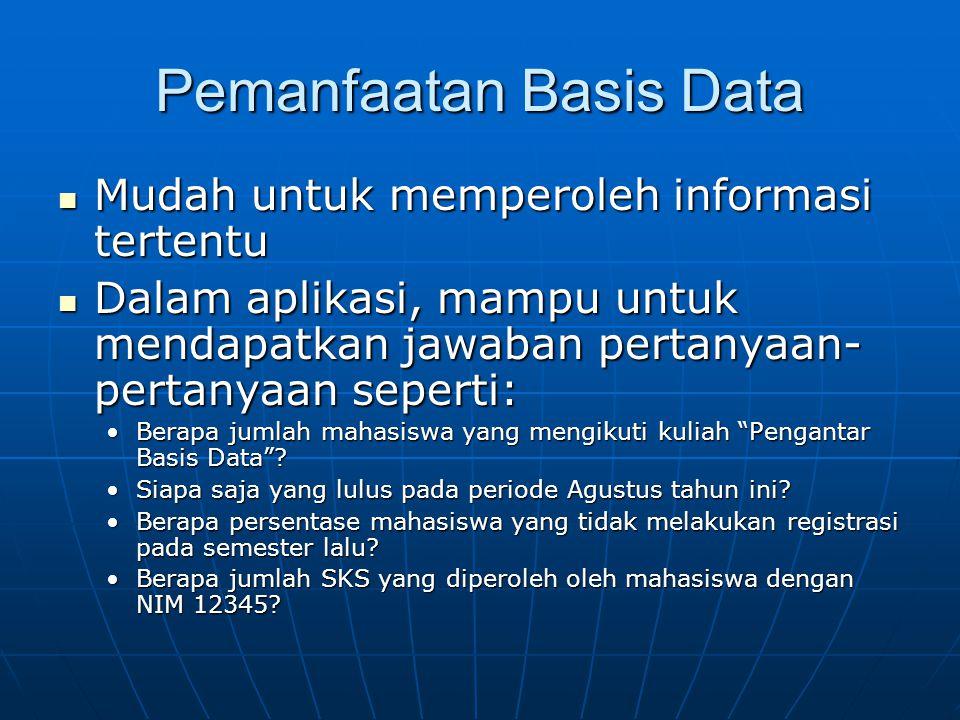 Pemanfaatan Basis Data Mudah untuk memperoleh informasi tertentu Mudah untuk memperoleh informasi tertentu Dalam aplikasi, mampu untuk mendapatkan jaw